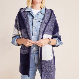 Anthropologie Aimee Buffalo Plaid Hooded Cardigan
